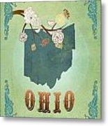 Modern Vintage Ohio State Map  Metal Print