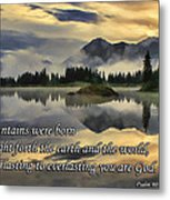 Molas Lake Sunrise With Scripture Metal Print