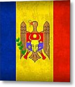 Moldova Flag Vintage Distressed Finish Metal Print