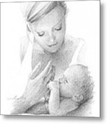 Mom And Baby Pencil Portrait Metal Print