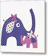 Momma And Baby Elephants Metal Print