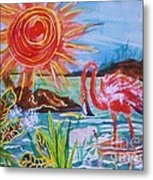 Momma And Baby Flamingo Chillin In A Blue Lagoon  Metal Print