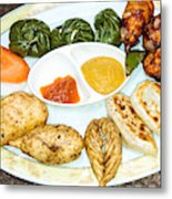 Momo Is A Type Of South Asian Dumpling. Native To Tibet, Nepal. Metal Print