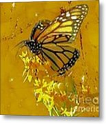 Monarch On Gold Metal Print