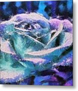 Monet Frosted Rose Metal Print