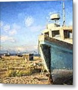 Monet Style Digital Painting Abandoned Fishing Boat On Beach Landscape At Sunset Metal Print