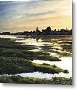 Monet Style Digital Painting Beautiful Summer Sunset Landscape Over Low Tide Harbor With Moor Metal Print
