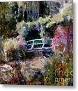 Monet's Bridge In Autumn Metal Print