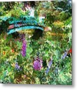 Monet's Bridge In Spring Metal Print