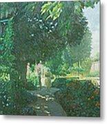 Monets Garden Oil On Board Metal Print