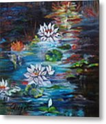 Monet's Pond With Lotus 11 Metal Print