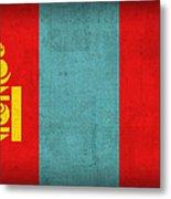 Mongolia Flag Vintage Distressed Finish Metal Print