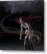 Monika Hinz Doing Great Bmx Flatland Action On Her Bike Metal Print
