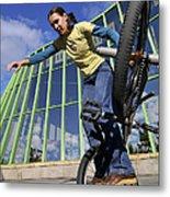 Monika Hinz Riding Bmx Flatland Metal Print