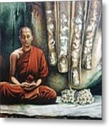 Monk In Meditation Metal Print
