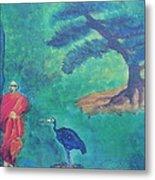 Monk With Bonzai Tree Metal Print
