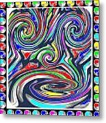 Monkey Dance Created Out Of Beads Of The Border Creative Digital Graphic Work Cartoon Comedy Backgro Metal Print