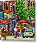 Monkland Tavern Corner Old Orchard Montreal Street Scene Painting Metal Print