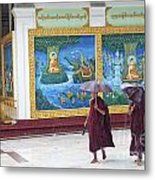 Monks In Rain At Shwedagon Paya Temple Yangon Myanmar Metal Print