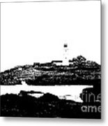Monochromatic Godrevy Island And Lighthouse Metal Print