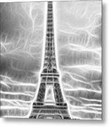 Monochrome Eiffel Tower Fractal Metal Print