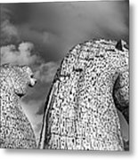 Monochrome Kelpies Metal Print