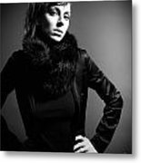 Monochrome Woman Metal Print