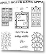 Monopoly Board Game Patent Art  1935 Metal Print by Daniel Hagerman