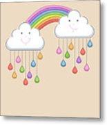 Monsoon Season Background With Happy Metal Print