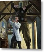 Monster In Victorian Science Laboratory Metal Print