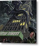 Monster Octopus Attacking Building In Storm Metal Print