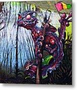 Monster With Flag Metal Print