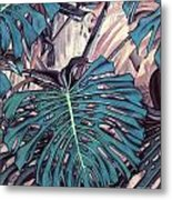 Monstera Blues Metal Print