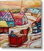Mont St.hilaire Going Towards The Village Quebec Winter Landscape Paintings Carole Spandau Metal Print