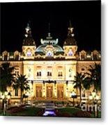 Monte Carlo Casino At Night Metal Print