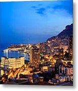 Monte Carlo Cityscape At Night Metal Print