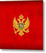 Montenegro Flag Vintage Distressed Finish Metal Print