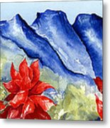 Monterrey Mountains With Red Floral Metal Print