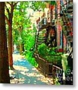 Montreal Art Colorful Winding Staircase Scenes Tree Lined Streets Of Verdun Art By Carole Spandau Metal Print