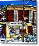 Montreal Art Hockey Paintings Chez Bert Depanneur The Pointe Verdun City Scene Carole Spandau  Metal Print