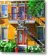 Montreal Art Seeing Red Verdun Wooden Doors And Fire Hydrant Triplex City Scene Carole Spandau Metal Print