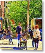Montreal Art Summer Cafe Scene Rue Laurier Family Day Wagon Ride City Scene Art By Carole Spandau Metal Print