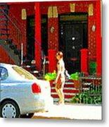 Montreal Art Summer Stroll On A Sunny Morning Colorful Street Verdun City Scene Carole Spandau Metal Print