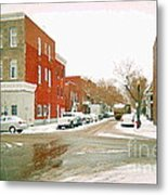 Montreal Art Winter Street Scene Painting The Point Psc Rowhouses In January Snow Cspandau Metal Print