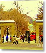 Montreal Memories Mcgill Students On Campus Roddick Gates Montreal Collectible Art Prints C Spandau Metal Print