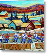 Montreal Memories Rink Hockey In The Country Hockey Our National Pastime Carole Spandau Paintings Metal Print