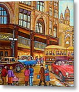 Montreal Memories-streetcars-morgan's Department Store At St.catherine And Union Metal Print