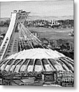 Montreal Olympic Stadium And Olympic Park-home To Biodome And Velodrome-montreal In Black And White Metal Print