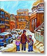 Montreal Paintings Winter Walk Past The Old School Snowy Day City Scene Carole Spandau Metal Print
