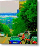 Montreal Skyline Decarie View Of Clock Tower Victoria Pier And Super Hospital Site Carole Spandau Metal Print